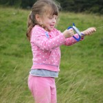 Daisy, flying her first kite, with surprising degrees of success